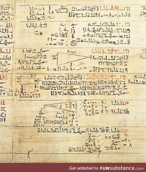 Rhind Mathematical Papyrus, Egypt 15th c. BCE. Textbook, used by scribes to learn to