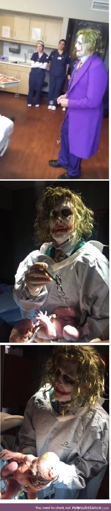 This doctor was at a Halloween party and one of his patients went into labor