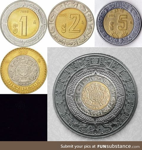 If you put all the Mexican coins together they turn into the Aztec calendar