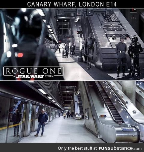 Rogue One: A Star Wars Story used Canary Wharf, Jubilee Line Station, and redressed it to