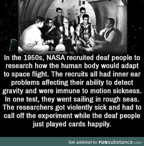 Gravity effect on deaf people