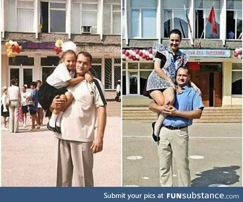 The first day in school and the last day at the University Father 's greatest love