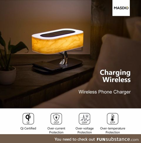 Bedside Lamp with Bluetooth Speaker and Wireless Charger, Table lamp Desk lamp with Sleep