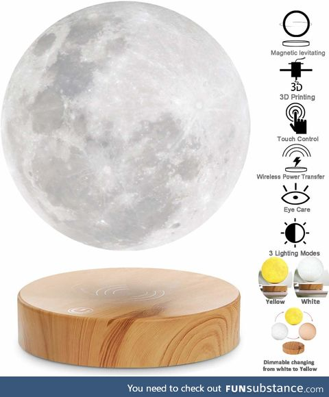 Levitating Moon Lamp,Floating and Spinning in Air Freely with 3D Printing LED Moon Lamp