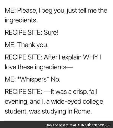 Just want to make lasagna