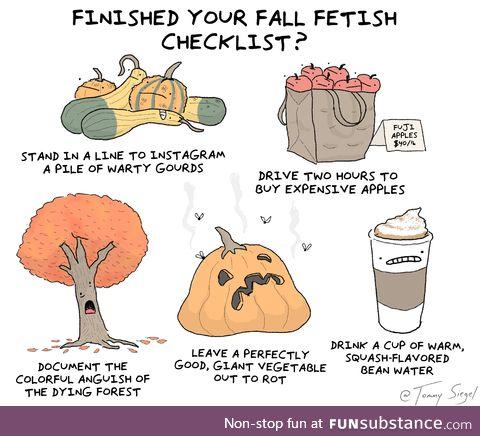 Fall fetish checklist