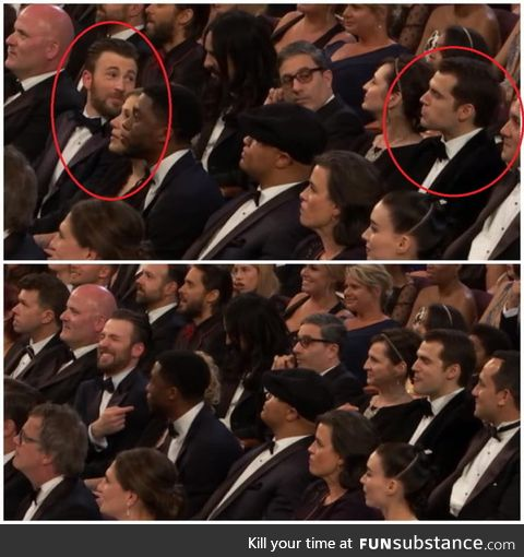 Captain laughing at Superman for eating girl-scout cookies during Oscar moodboard