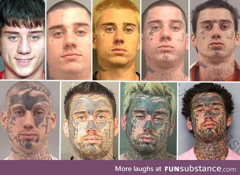 1 guy, 9 mug shots, each one with additional facial tattoos