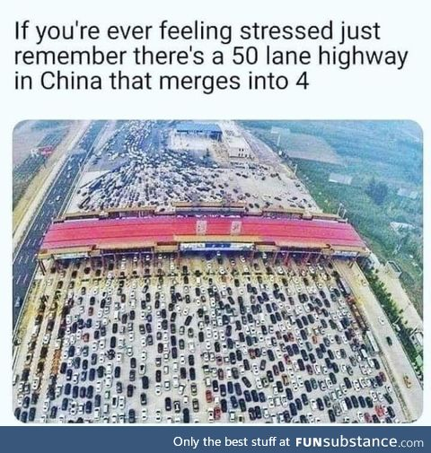 50 lane highway that merges into 4