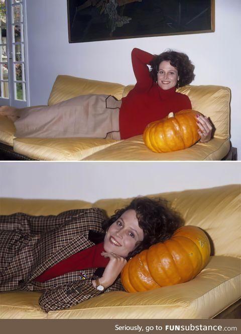 Sigourney Weaver has a thing for punkins, circa 1985