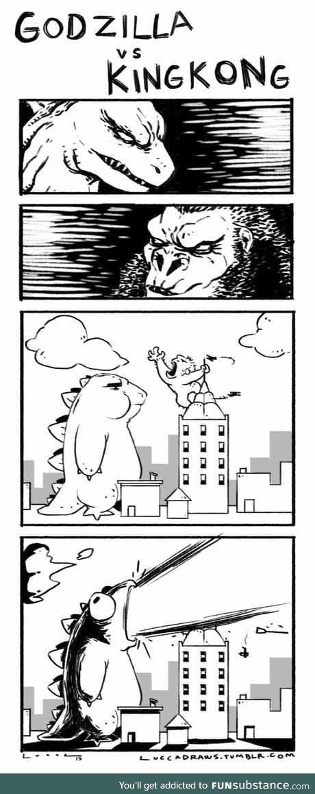 How everybody thinks Godzilla versus King Kong will go down in a nutshell