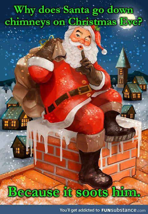 Santa goes down chimneys