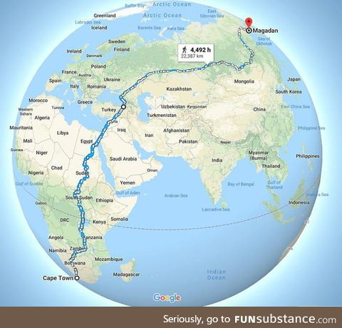 This map potentially shows one of the world's longest uninterrupted walks from Cape