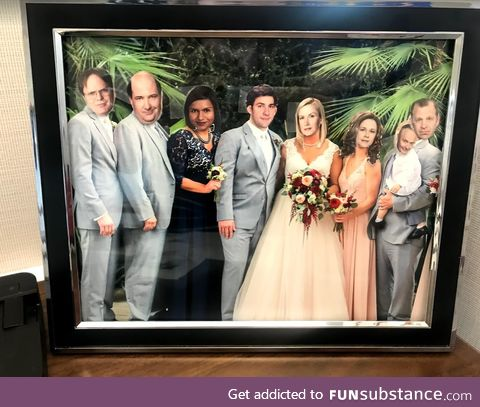 Coworker has a picture of his sister's wedding on his desk. We did this to it