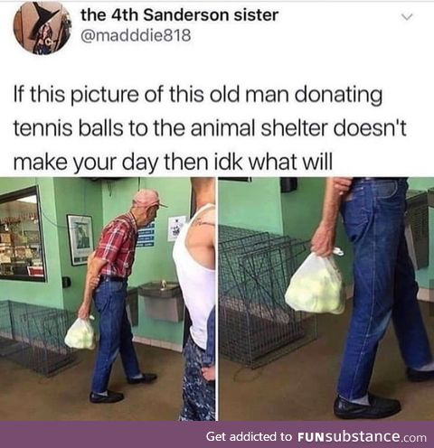 This old man donating tennis balls to an animal shelter