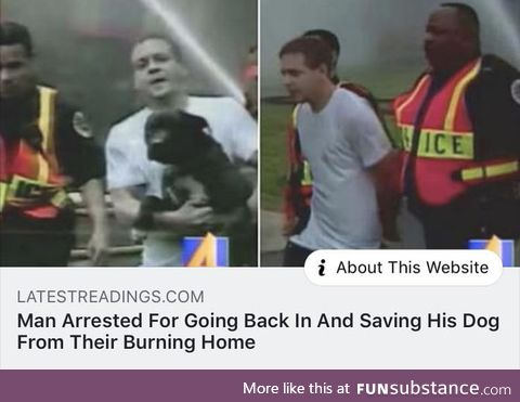Imagine arresting a dude because he saved his dog