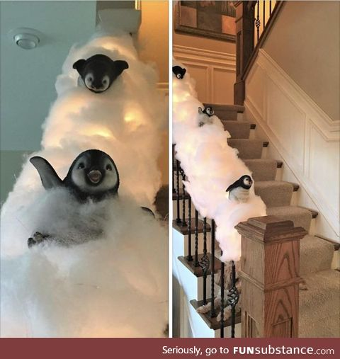 Wife and I decided to decorate the banister for Christmas