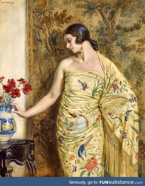 'Portrait of the Artist's Wife' - George Owen Wynne Apperley