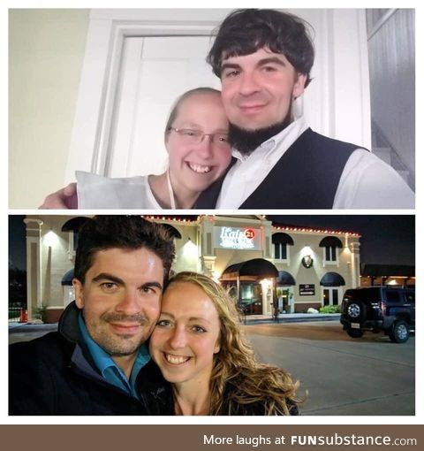Just before, and one year after leaving the Amish lif