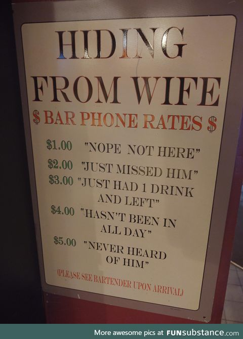 This sign at the bar last night