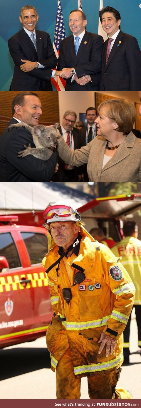Former Australian prime minister Tony Abbott is fighting the bushfires on the front