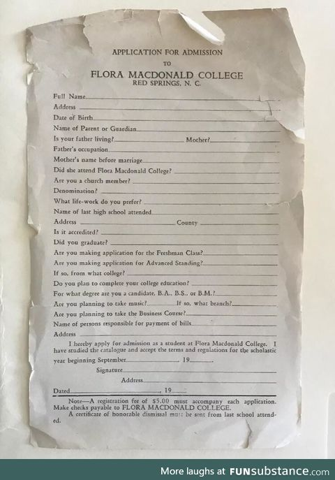 1940 college admission paperwork