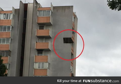 Guy in Split,Croatia literally cuts off a piece of the building he lives in to have a
