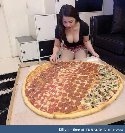 One giant Pizza