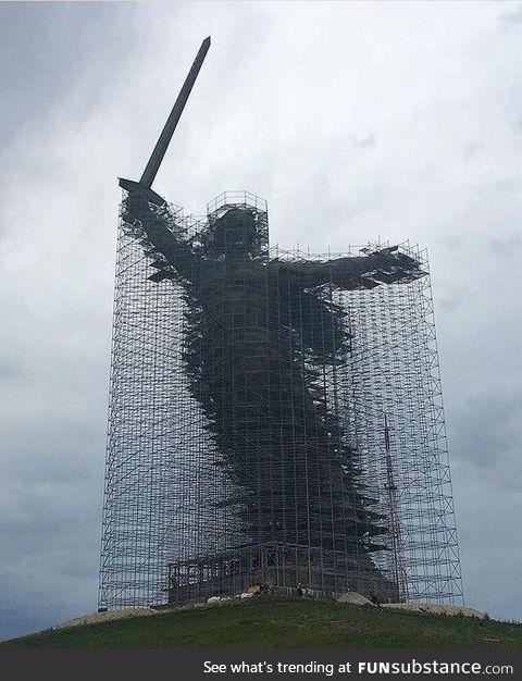 The Motherland Calls monument restoration, Volgograd, Russia, 2019
