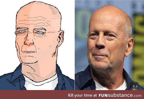 Bored at work so I tried to draw Bruce Willis on Paint