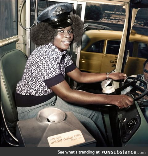Mary Wallace: First female bus driver for Chicago Transit Authority, 1974 (Colourised)