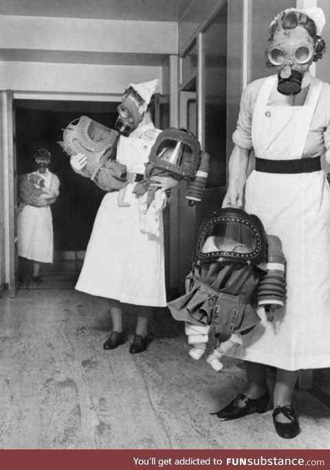 WWII gas suits for newborns. War is hell