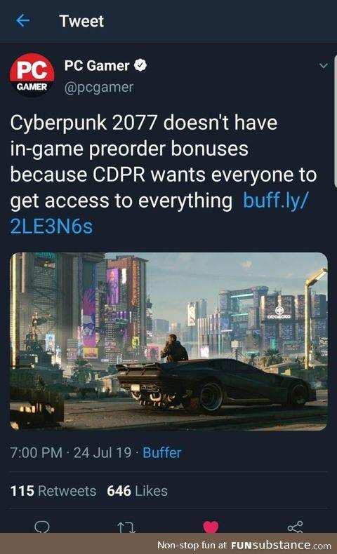 CDPR being game developer bros