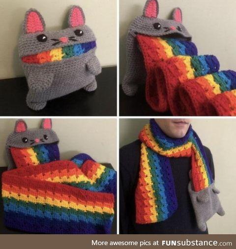 Rainbow cat barfing