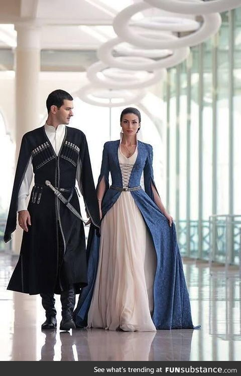 Traditional Georgian wedding attire
