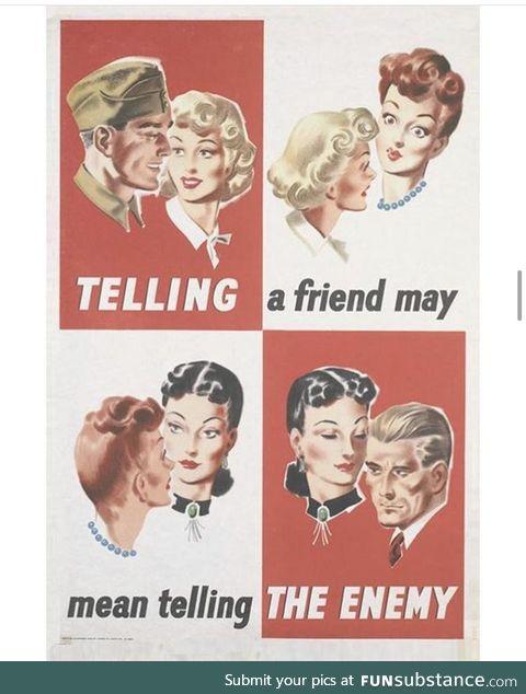 Gossip is dangerous-- British propaganda poster from WWII