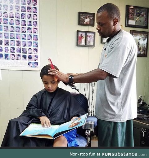 He gives kids a $2 discount if they read a book out loud during their haircut