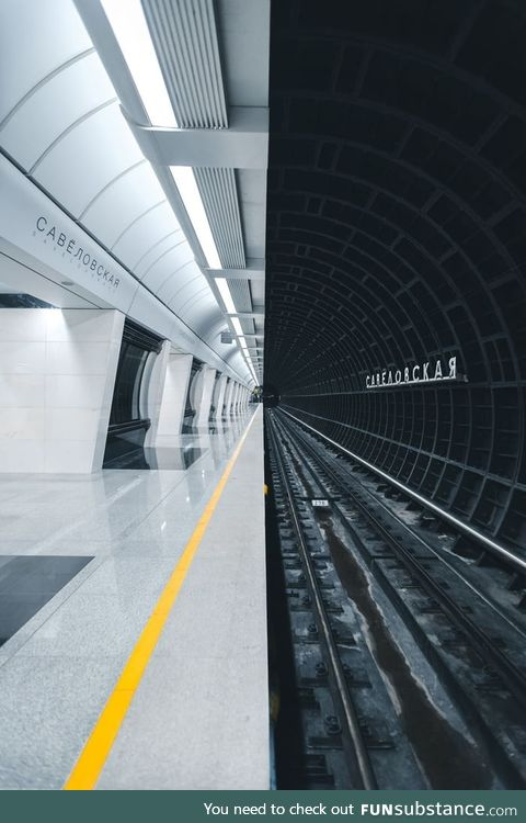 The new Moscow metro station made in futuristic style (Savelovskaya)