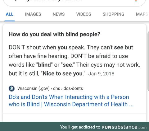 It's OK to interact with blind people