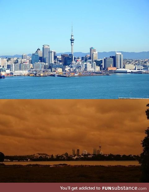 Auckland, New Zealand skyline as is usually above...Today below due to smoke blown over