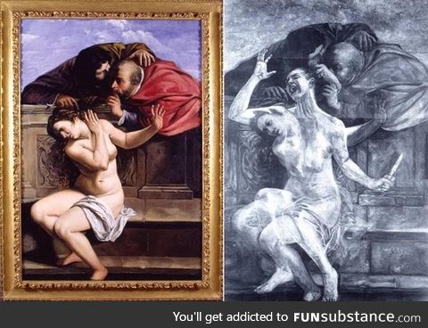 Artemisia Gentileschi - Susanna and the two vecchioni - opera observed with infrared.