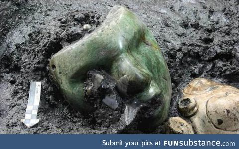 2,000-Year-Old Realistic Green Mask Found Nestled Inside an Ancient Pyramid