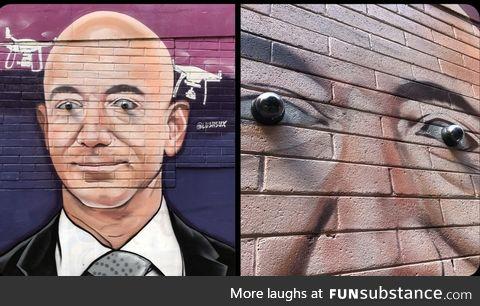 Jeff Bezos surveillance mural