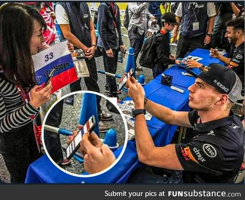 Max Verstappen, Dutch F1 driver, correcting a fan that messed up the flags