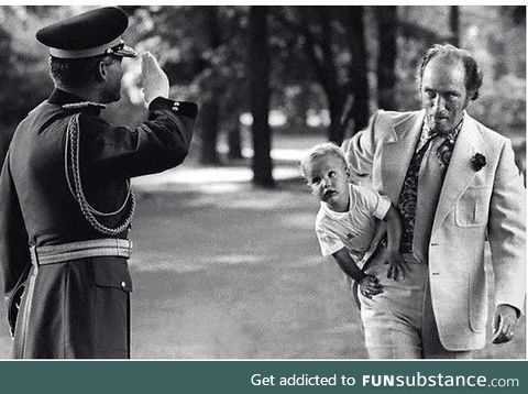 The Prime Minster of Canada carrying the Prime Minister of Canada circa 1973