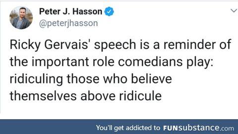 Ricky gervais' speech