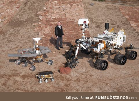 Left is Oppy, middle obviously human, Right is Curiosity.