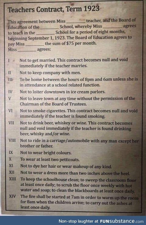 A Teacher's contract, circa 1923