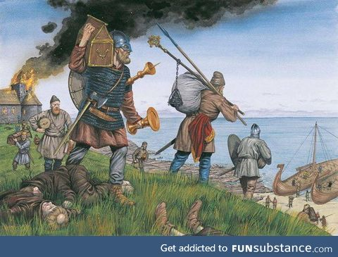 Good vikings save valuables from a burning house, while lazy locals are chilling on the
