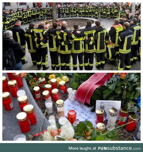 German firefighters mourn the loss of a colleague, who was beaten to death by a